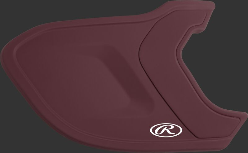 A matte maroon MEXTR Mach EXT batting helmet extension for right-handed batters