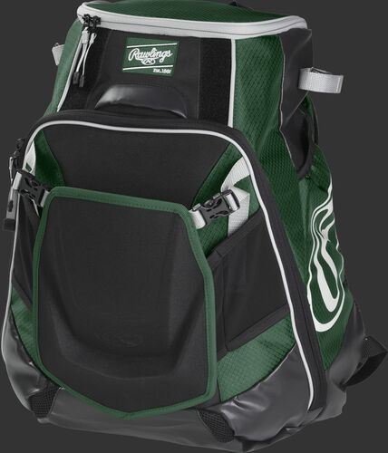 Front left of a dark green VELOBK Rawlings Velo equipment backpack with an Oval R logo on the side compartment