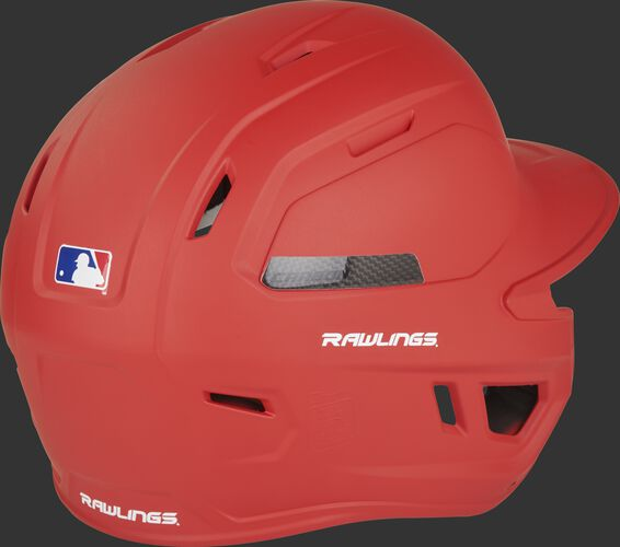 Back right of a matte scarlet CAR07A Rawlings high school/college batting helmet