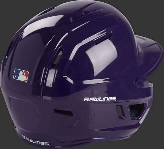 Back right of a MCH01A Rawlings high school batting helmet with a purple shell
