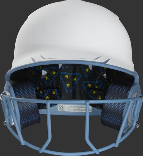 Front of a white/columbia blue Mach fastpitch softball helmet with a columbia blue mask - SKU: MSB13S-W/CB