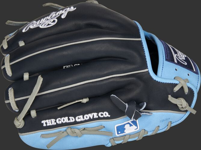 Navy/Columbia blue back of a Tampa Bay Rays Heart of the Hide infield glove with the MLB logo on the pinky - SKU: RSGPRO204-2TB
