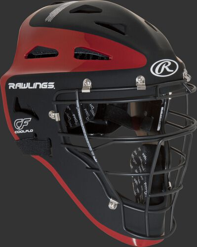Front right of a black/scarlet CHVELY Rawlings Velo catcher's helmet