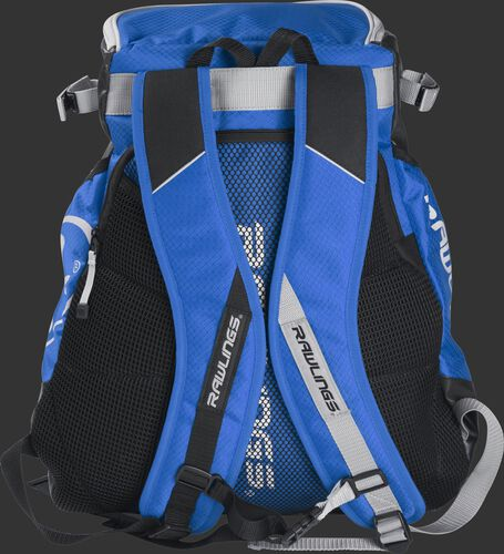 Back of a royal VELOBK Rawlings Velo backpack with royal shoulder straps