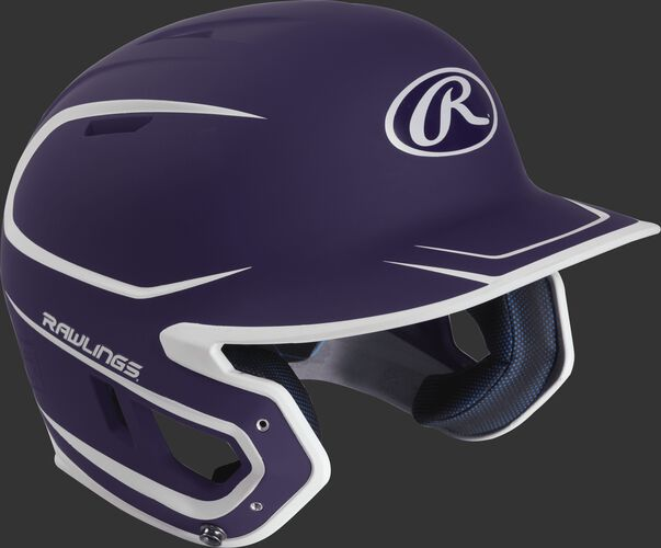 Right angle view of a matte MACH Senior batting helmet with a purple/white shell
