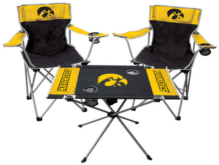 Front of Rawlings Yellow and Black NCAA Iowa Hawkeyes 3-Piece Tailgate Kit With Two Kickoff Chairs, An Endzone Table, And A Transport Bag With Team Logo SKU #00993075511