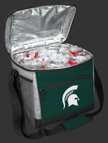 An open Michigan State Spartans 24 can cooler filled with ice and drinks - SKU: 10223038111