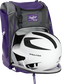 A white/black helmet in the main compartment of a purple Rawlings Franchise backpack - SKU: FRANBP-PU image number null