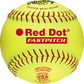 A yellow PX11RYLA USA NFHS 11-inch Red Dot softball with red stitching image number null