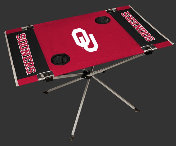 NCAA Oklahoma Sooners Endzone table featuring team logos, team colors and two cup holders SKU #04053045111