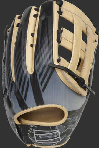 Black/gray 3D molded back of a REV1X 12.75-inch H-web outfield glove - SKU: REV3039-6
