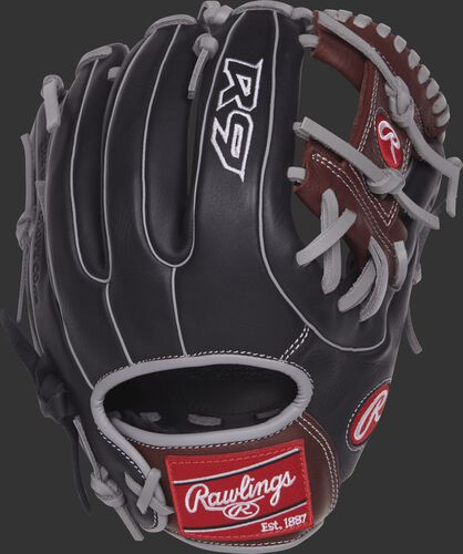 Back view of a R9314-2BSG 11.5-inch R9 Series infield glove with a black back and grey double-welting