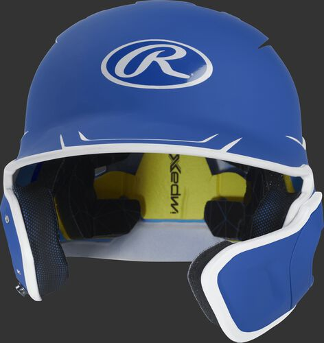 Front of a matte royal/white MACHEXTR senior size Mach batting helmet with face guard extension for right hand batters