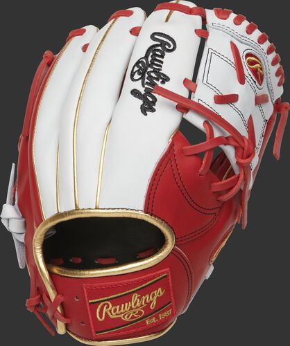 PRONP2-8SW exclusive 11.25-Inch Heart of the Hide 1-Piece Solid web glove with a white back and scarlet trim