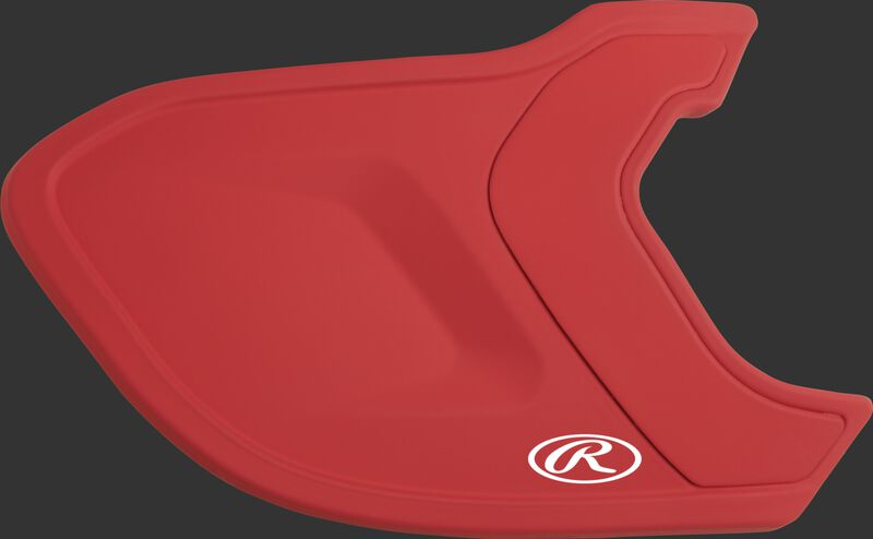 A matte scarlet MEXT Mach EXT batting helmet extension