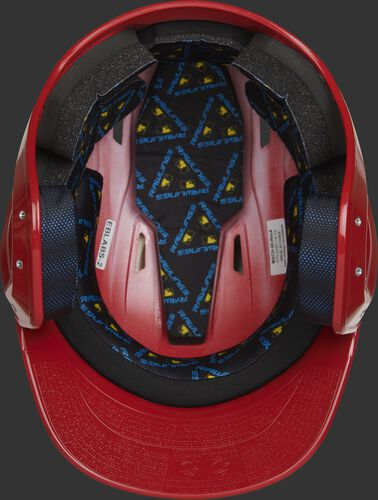 Inside of a scarlet MCC01 ventilated Mach batting helmet with black foam padding