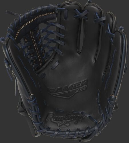 GXLE204-4DS Rawlings Gamer XLE infield/pitcher's glove with a dark shadow palm, dark shadow web and black/navy laces