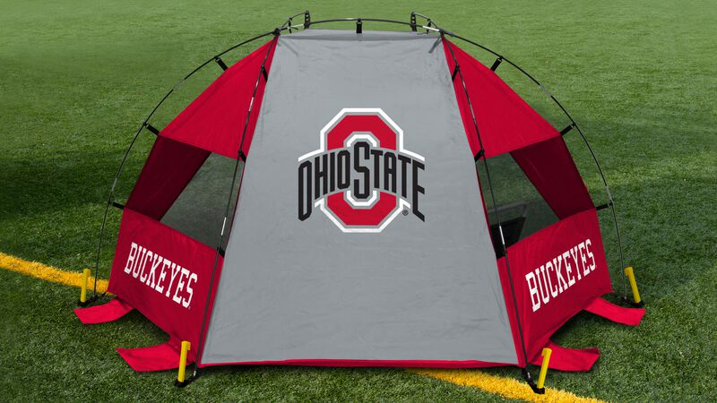 Back of an Ohio State Buckeyes sun shelter with a Buckeyes logo in the middle set up on a field - SKU: 00973042111