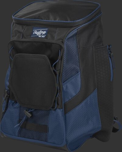 Front left of a navy/black R600 Rawlings backpack without bats
