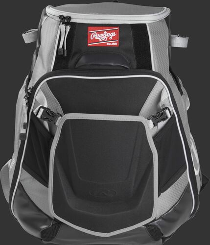 Front of a gray VELOBK Velo backpack with gray trim and a red Rawlings patch