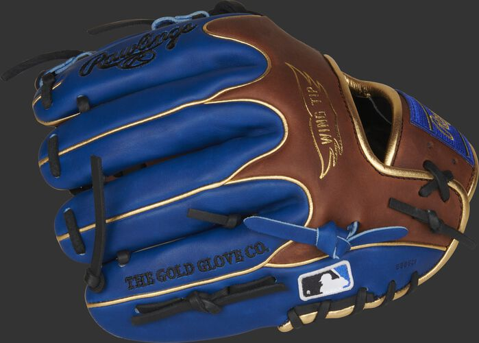 Fingers of a PRO204W-2TIR Rawlings exclusive Heart of the Hide glove with the Official Glove of MLB logo
