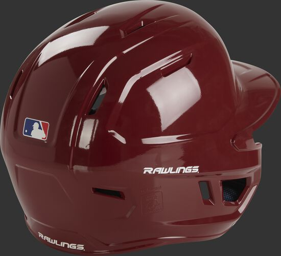 Back right of a MCH01A Rawlings high school batting helmet with a cardinal red shell