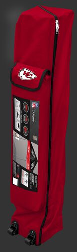 Red wheeled carry case of a Kansas City Chiefs canopy with the team logo on the outside compartment - SKU: 02231071111