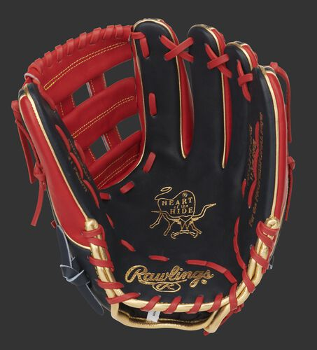Navy palm of a Heart of the Hide infield glove with a scarlet web, gold stamping and scarlet laces - SKU: PRO315-6NS