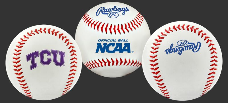 3 views of a NCAA TCU Horned Frogs baseball with a team logo, NCAA logo and Rawlings logo