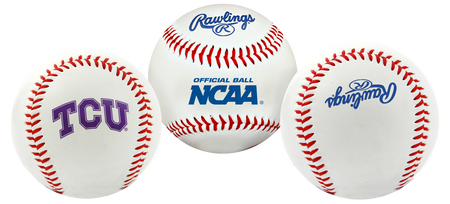 3 views of a NCAA TCU Horned Frogs baseball with a team logo, NCAA logo and Rawlings logo