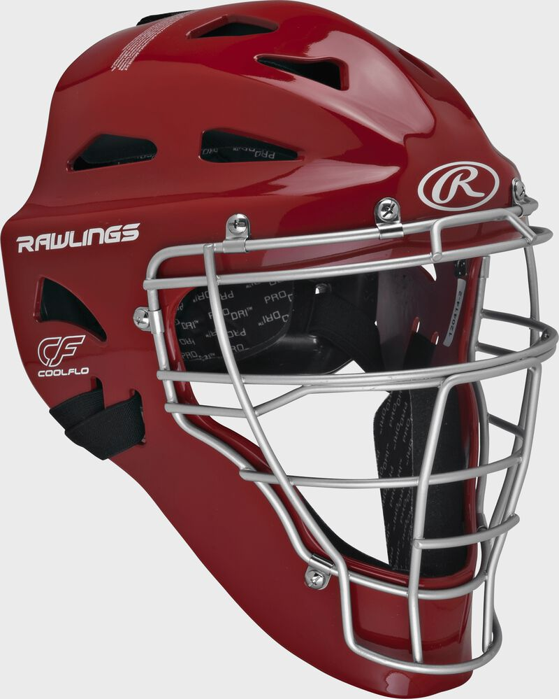 Scarlet Cool-Flo adult catcher's helmet with silver cage