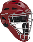 Scarlet Cool-Flo adult catcher's helmet with silver cage image number null