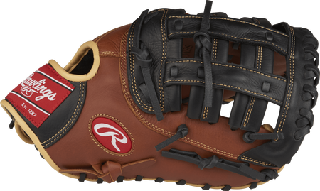 Thumb view of a SFM18 Sandlot Series 12.5-inch first base mitt with a black Modified H web
