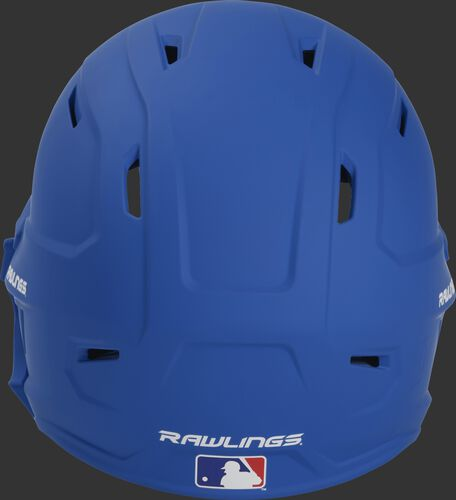 Back of a MACHEXTR high performance junior MACH helmet with a matte royal shell and Official Batting Helmet of MLB logo
