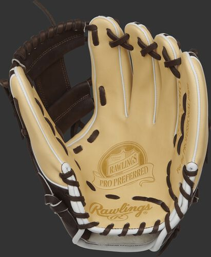 PROS315-2CMO Rawlings 11.75-inch kip leather infield glove with a camel palm and chocolate brown laces