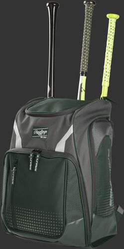 Angle view of a dark green Legion baseball bat backpack with 3 bats in the back - SKU: LEGION-DG