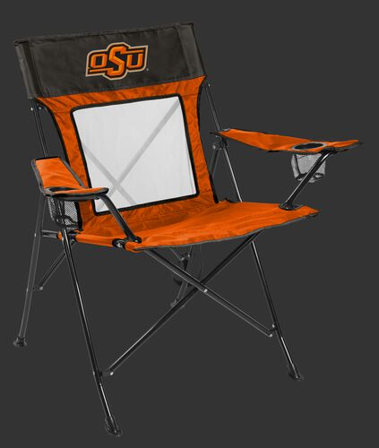 Front of Rawlings Orange and Grey NCAA Oklahoma State Cowboys Game Changer Chair With Team Logo SKU #00643044111