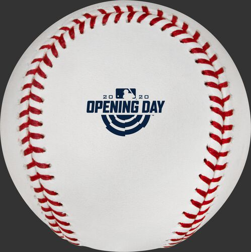 The 2020 Opening Day logo stamped on a MLB baseball - SKU: ROMLBOD20