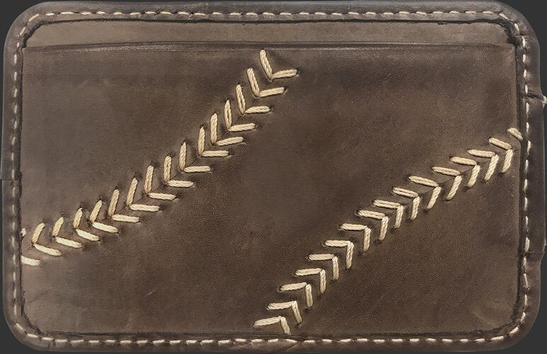 A brown MW494-201 Baseball Stitch money clip with tan stitching on the outside credit card slot