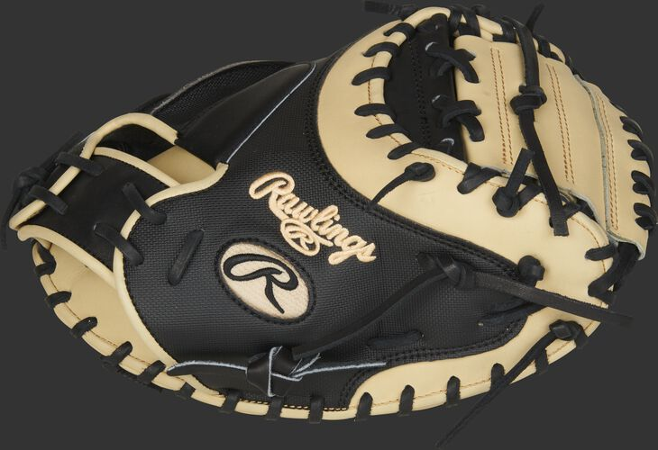 Thumb of a black/camel 2020 Heart of the Hide 34-Inch catcher's mitt with a camel 1-Piece solid web - SKU: PROYM4BC