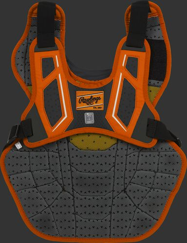 Back harness of a orange/black CPV2N adult Velo 2.0 chest protector with Dynamic Fit System 2.0