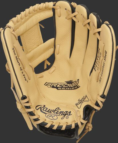 P115CBI Rawlings Prodigy youth glove with a camel Sure Catch palm and camel laces