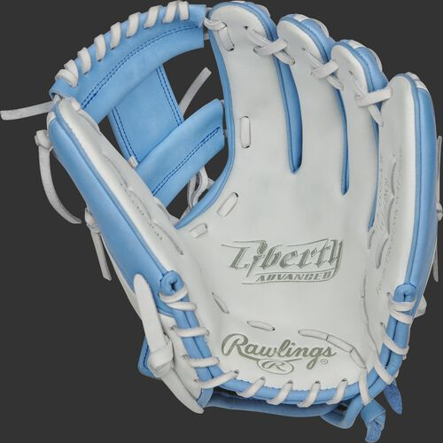 RLA715SB-2CB Rawlings Liberty Advanced Color Series glove with a white palm, columbia blue web and white laces