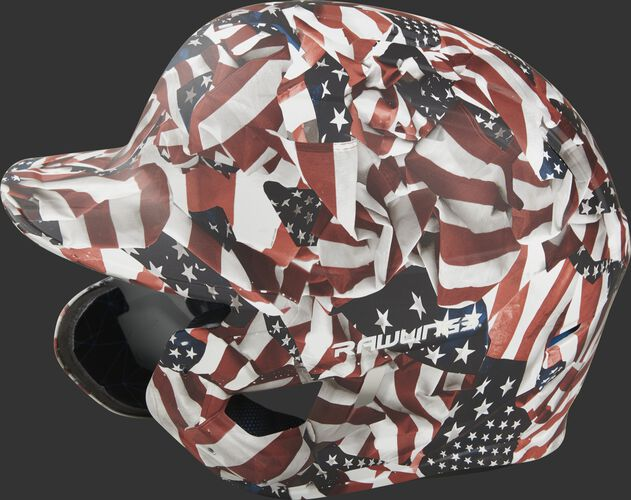 Left side of a MACHEXTL-USA Rawlings Mach EXT USA helmet with a unique American flag hydro dipped design