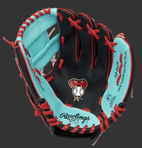 A black/teal Rawlings Arizona Diamondbacks youth glove with a D-Backs logo on the palm - SKU: 22000010111