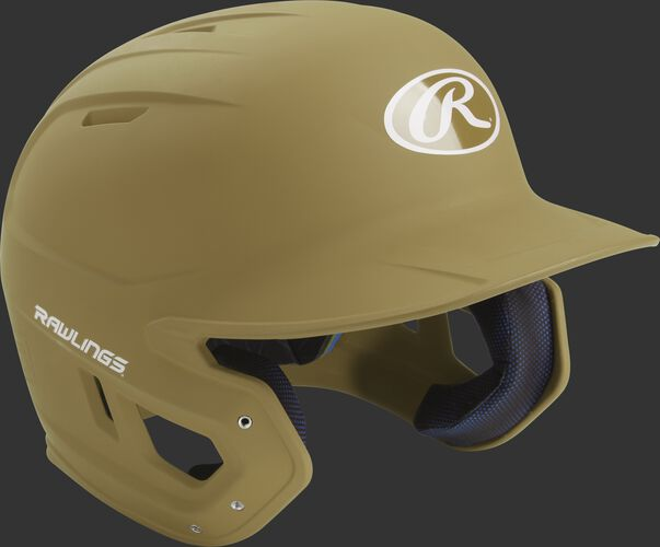 Right angle view of a matte MACH batting helmet with a Vegas gold shell