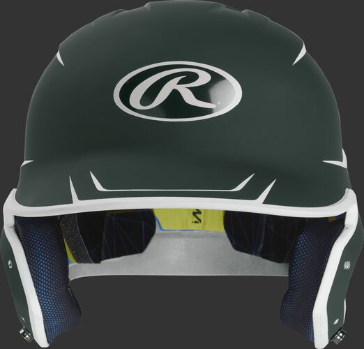 Front of a matte dark green/white MACH senior size batting helmet