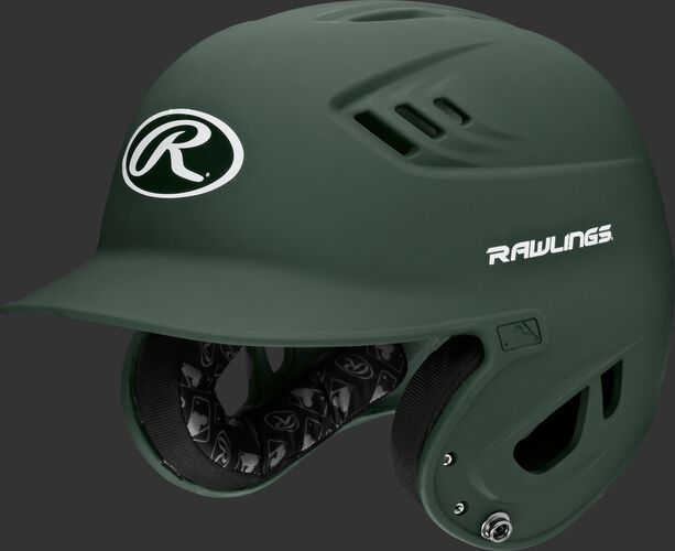 A dark green R16MS Velo senior batting helmet with Cool-Flo vents