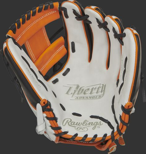 RLA715SB-2OB Rawlings Liberty Advanced Color Series glove with a white palm, orange web and black laces