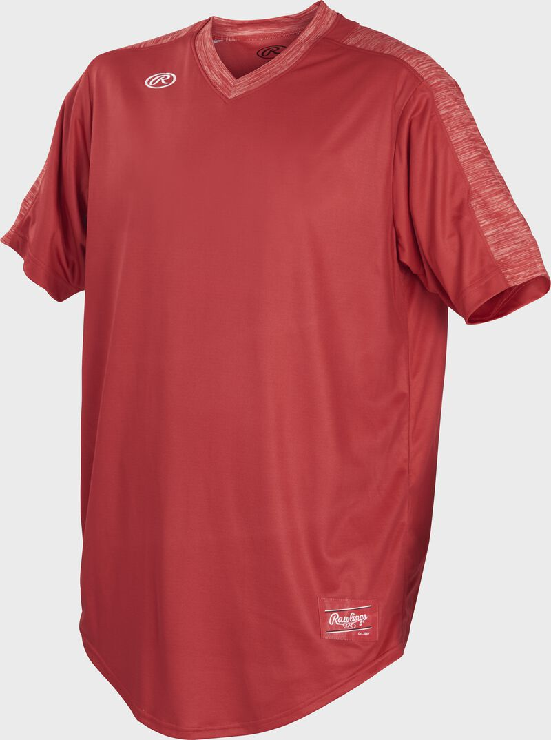 Front of Rawlings Scarlet Adult Short Sleeve Launch Jersey  - SKU #LNCHJ-S
